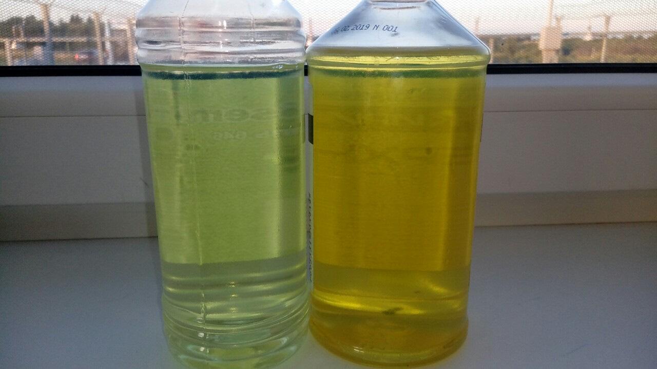 Цвет дизельного топлива светло-желтый и желтый